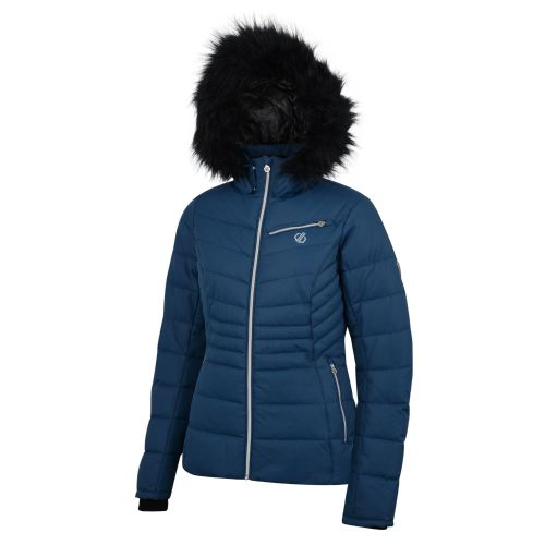 Women's Glamorize Faux Fur Trim Luxe Ski Jacket Blue Wing